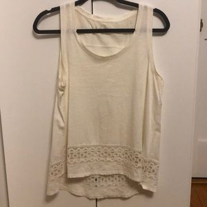 Cotton white tank top with detailed bottom